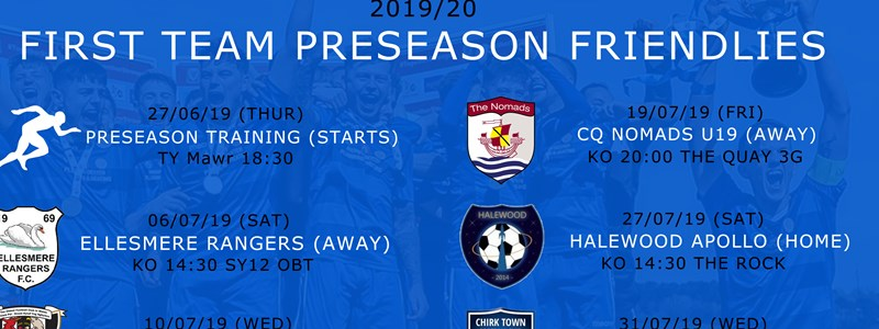 First Team Preseason Friendlies 2019/20
